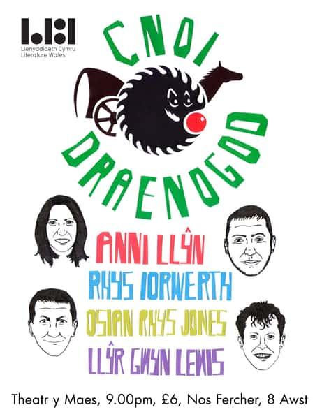 Poster Cnoi Draenogod, gan Rhys Aneurin.